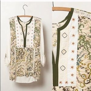 Anthropologie Tiny Embroidered Boho Top I0337